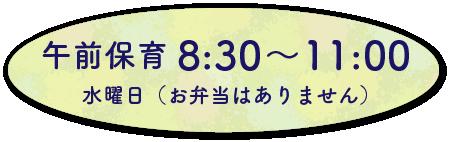 午前保育8:30~11:00水曜日(お弁当はありません)